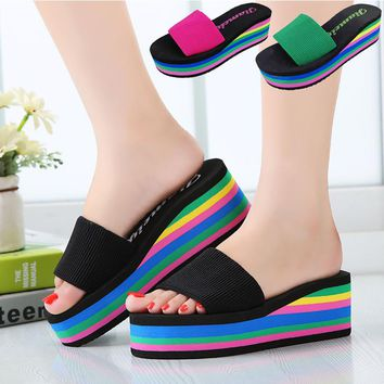 Womens Wedges Slippers Platform Sandals Wedge Slippers Slides Rainbow Summer Thick Heel Shoes