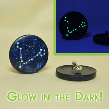 Pisces Pinback Button, GLOW in the DARK, Constellations, Zodiac, Horoscope, Astrology, Astronomy, Feb 19 - March 20, The Fish, The Stars