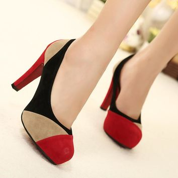 Color Block Round Toe Low Cut High Heels