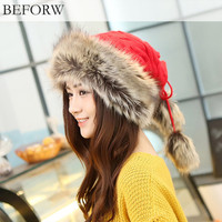 Warm hats BEFORW winter Hat Ladies Beaie Wool Hat Fur Cap Plus Velvet Dual Use Hats ce knittig Caps