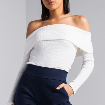 AKIRA Off Shoulder Ribbed Knit Long Sleeve Sweater in Ivory, Black
