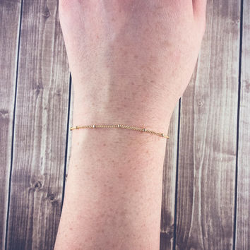 Dainty gold chain bracelet | Satellite chain bracelet, Thin gold bracelet, Delicate layering bracelet, Simple jewelry