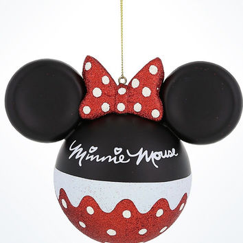 Disney Parks Minnie Icon Dot Christmas Glass Ball Ornament New With Tags