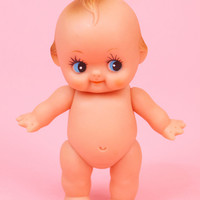 Vintage Plastic Kewpie Doll Cute Kitsch Rubber Baby Toy 8""