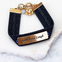 Live Love Laugh Gold Denim Bracelet