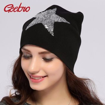 Skull Skulls Halloween Fall Geebro Women's Star Sequins Beanies Hat Spring Plain Knit Cotton Slouchy Beanie For Women  Cap Balaclava Hats for Ladies Calavera