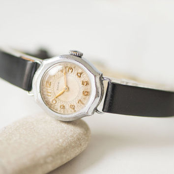 50s women's watch silver shade, tiny lady watch Dawn, rare watch classical small, ornamented face watch gift her, new premium leather strap