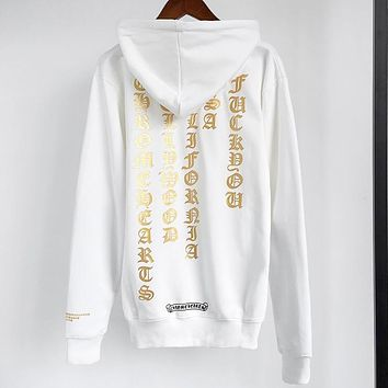 Chrome Hearts New fashion pattern print hooded long sleeve sweater White