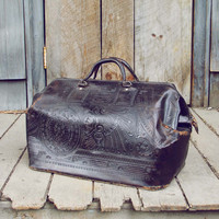 Vintage Native Nights Leather Tote
