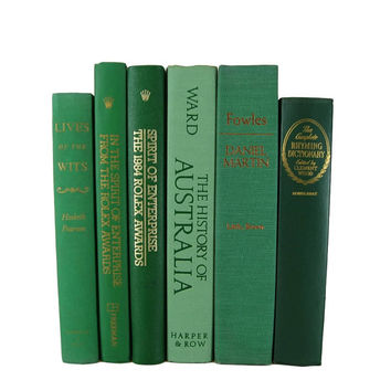 Green Farmhouse Decor, Decorative Books, Green  Books, Vintage Books, Home Decor  Old Books,  Photo Props, Wedding Decor, Centerpiece