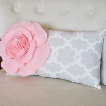 Lumbar Pillow Light Pink Rose on Neutral Gray Tarika Lumbar Pillow 9 x 16 -Lattice Trellis-