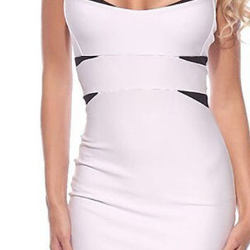 White and Black Cut-Out Sleeveless Bodycon Midi Dress