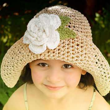 Straw Sun Summer Hat For children with Big White Flower by beliz82