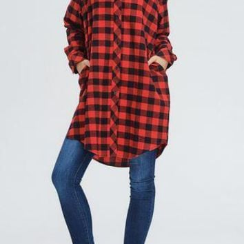 Oversized Long Sleeve Buffalo Plaid Shirt