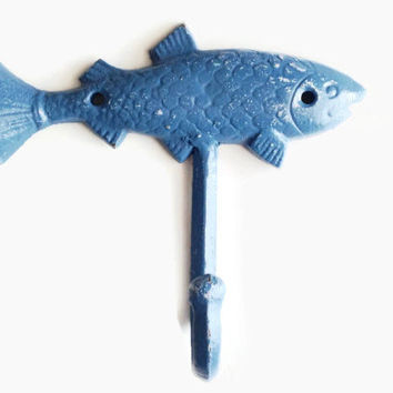 Blue Fish Hook. Metal Wall Hanger. Fishing Decor. Key Hook. Cast Iron Outdoor Shower. Lake Decor. Beach Decoration. Ocean Theme. Boy Nursery