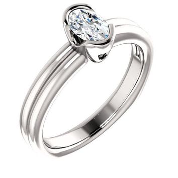 0.50 Ct Oval Diamond Engagement Bezel-set Ring 14k White Gold