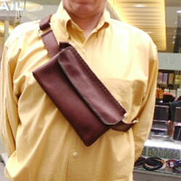 harness brown 2 pocket pouch chest bag leather mans