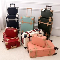 2018 new PU travel luggage set suitcase leather retro spinner wheels rolling luggage 3 colors high quality free shipping