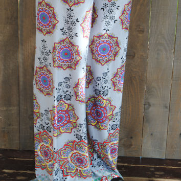 Purple Unique Flower Print Palazzo Pants (S)