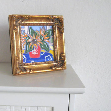 Acrylic Sunflowers Still life Painting, Miniature Eiffel tower, French Country Home Decor, gift idea