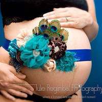 Custom Maternity Sash - your choice of colours & theme - peacock, nautical, pink, blue, Aqua