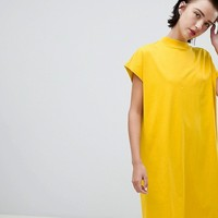 Weekday high neck dress in yellow at asos.com