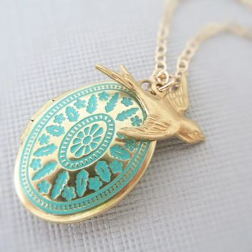 Gold Locket Necklace, Ornate Locket, Long, Turquoise Pendant, Bird, Delicate, 14kt Gold Filled, Simple Fashion Jewelry