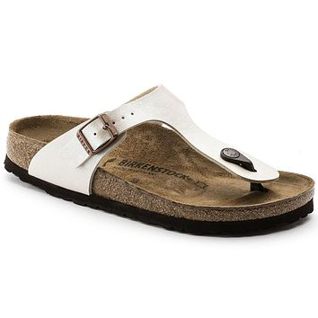 Birkenstock Classic Gizeh Birko-flor Graceful Narrow Fit Pearl White - Beauty Ticks