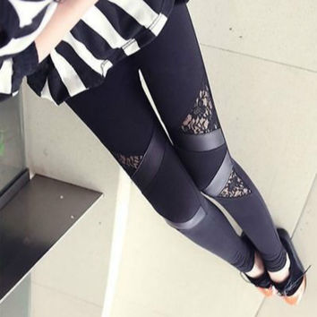 New Fashion Sexy Women Faux Leather Gothic Punk Leggings Lace Skinny Casual Black Leggings
