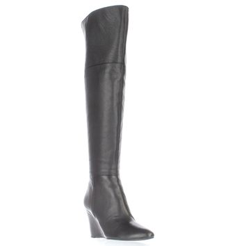 Via Spiga Kennedy Over-The-Knee Wedge Boots, Black, 6 US / 36 EU