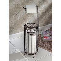 Holder Stand Toilet Paper Tissue Roll Towel Bronze Bathroom Organizer