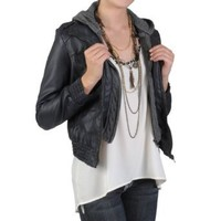 Hailey Jeans Co Juniors Faux Leather Hooded Jacket