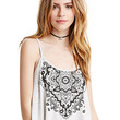 White Paisley Print Strappy Cami Crop Top