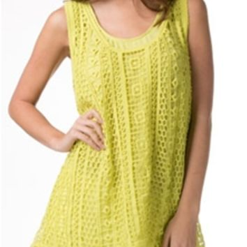 Monoreno Chiffon Top with Crochet Overlay in Lime M8211