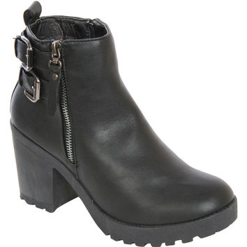Elora Buckle Detail Cleated Ankle Boots in Black