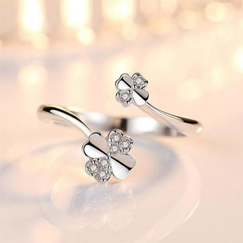 New Simple 925 Silver White Zircon Heart Cute Clover Flower Open Ring for Women Lady Resizable Tail Ring Jewelry ACC RJ150
