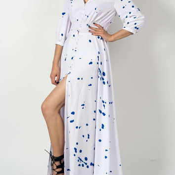 White V-neck Splash Print Empire Maxi Dress