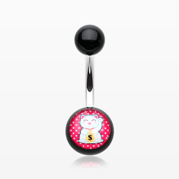 Maneki-Neko Lucky Cat Acrylic Logo Belly Button Ring