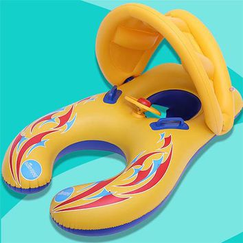 Swimming Pool beach Thicken Swimming Float Ring Inflatable Swimming Circle For Double With Removeable Sunshade Cover For Parent Child Kid Beach ToysSwimming Pool beach KO_14_1