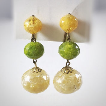 Yellow and green earrings, 1940s vintage West German crackle lucite earrings, drop earrings, dangle earrings, clip on