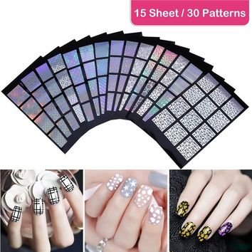 15 Pcs ETEREAUTY DIY Nail Art Hollow Stencil Sticker 30 Different Designs Easy Nail Stencil Sheet Decals Stickers