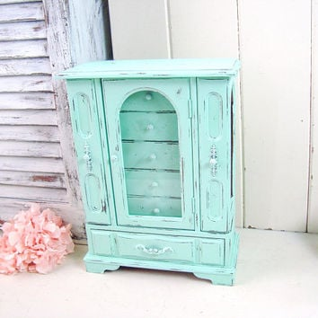 Teal Jewelry Box, Aqua Mint Jewelry Holder, Shabby Chic Jewelry Box with Floral Glass, Teen Gift Idea, Girl Gift Idea, Necklace Holder