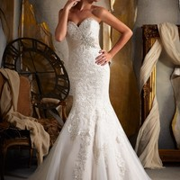 Mori Lee Wedding Dress Taffeta Sash Fit and Flare Beaded Embroidery Sweetheart - Mermaid, Strapless, Sweetheart