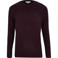 River Island MensRed ribbed long sleeve crew neck sweater