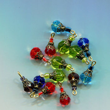 crystal bead drops, charms, pendants, glass bronze 14 piece Multi-Color, jewelry findings stitch markers assorted sizes
