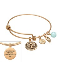 love this life Gold-Tone Stainless Steel Amazonite Guardian Angel & Wing Charm Bangle Bracelet