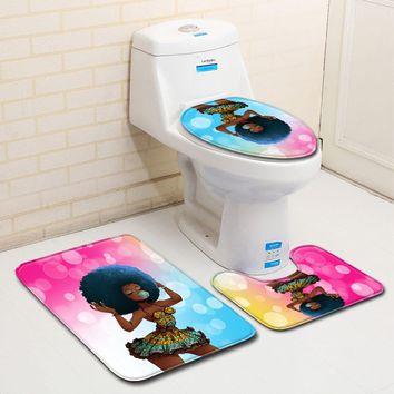 New 3pcs/set Anti Slip Toilet Bath Mats Bathroom Fashion African Women Printing Skidproof Toilet Seat Cover Bath Mat Lid Cover