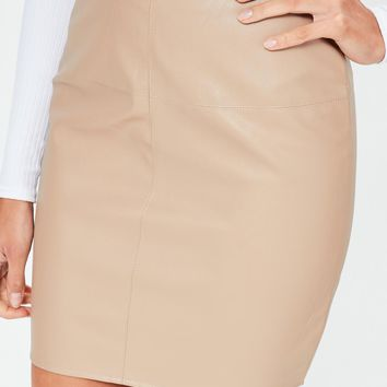 Missguided - Tan Faux Leather Mini Skirt