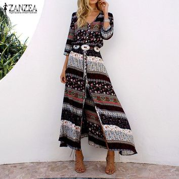 Sexy Maxi Long Dress 2017 ZANZEA Women V Neck 3/4 Sleeve High Waist Vintage Print Split Beach Casual Loose Dresses Vestidos