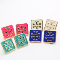 Tory Burch New fashion pop jewelry double letter square earrings multicolor four color